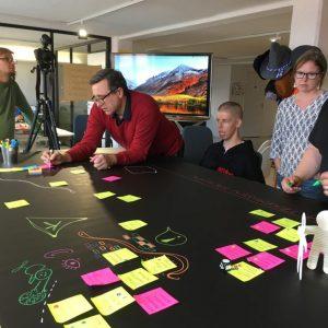 Kuva miettiviä ihmisiä strategiasprintissä