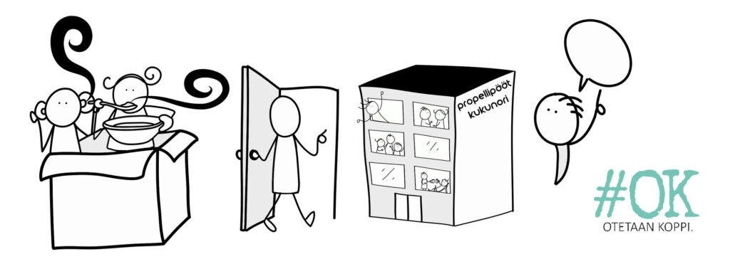 kuvituskuva: piirroshahmoja, jotka syövät keittoa, kävelevät ovesta sisään ja puhuvat